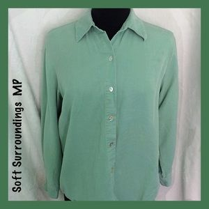 Soft Surroundings Green Button Shirt Medium Petite